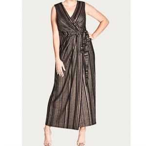 City Chic Black Cleo Wrap Maxi Dress NWT